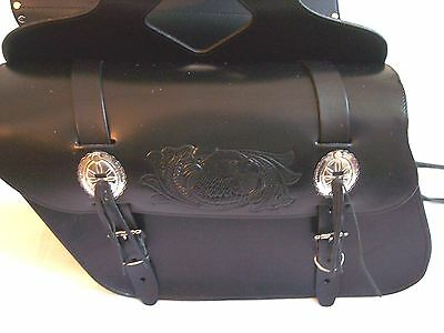 ( New genuine black cowhide leather motorcycle saddle bags 13