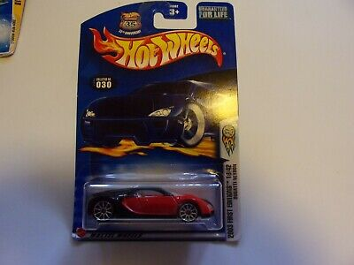 """Hot Wheels 2002 First Editions """"Bugatti Veyron"""" 18/42 Black/Red NIB"""