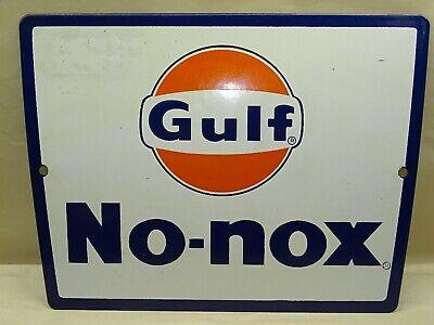 GULF No-nox Sign Porcelain One Sided Gas Pump Gasoline Station Fuel Vintage
