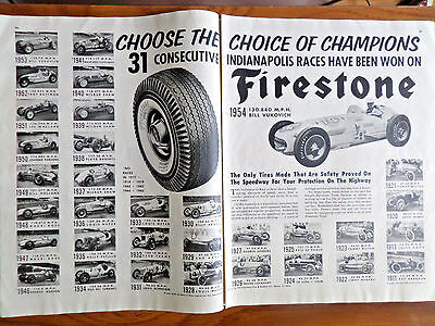 1954 Firestone Tire Ad Indianapolis 500 Winners 1911 - 1954