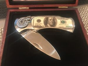 One hundred dollar bill collectable knife new in wood case