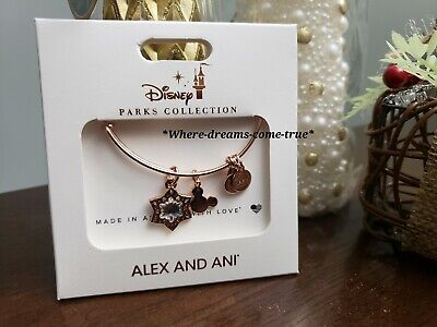 Disney Alex and Ani Christmas Mickey Mouse Snowflake Rose Gold Bracelet (NEW) ()
