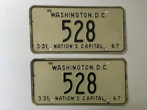 1967 District Columbia License Plate PAIR Plates Low Number Digit Washington DC