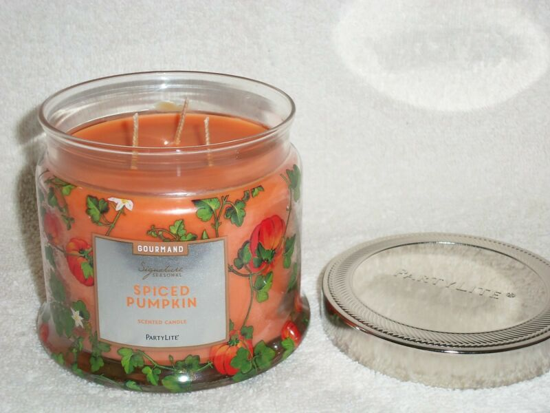 Partylite Spiced Pumpkin 3-wick Jar Candle -- NIB