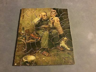 Antique Vtg Wooden Jigsaw Puzzle - The Cobbler - Norman Rockwell - 81 Pieces