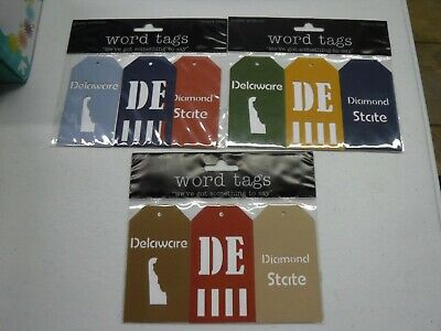 DELUXE DESIGNS DELAWARE STATE WORD TAGS 3 PC DIE CUT EMBELLISHMENT A20603 Die Cut Deluxe Designs