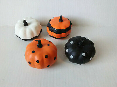 Glitter Mini Pumpkins~Set of 4 Different Plastic~Polka Dots-Stripes-3