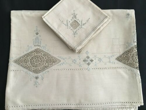 Vtg Linen Tablecloth 7 Napkins with Reticella Needle Lace Inserts Embroidery