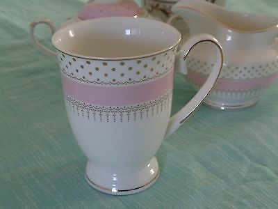 GRACE'S TEAWARE PINK WHITE GOLD  DOTS  FOOTED MUGS SET OF 4 NEW