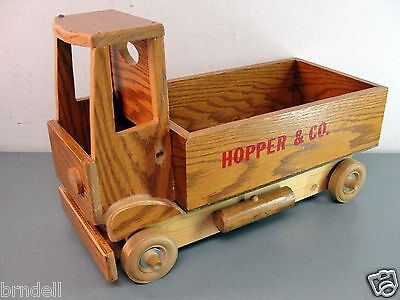 """HANDMADE OAK WOOD STAKE/BOX BED DELIVERY TRUCK VINTAGE WOODEN TOY 20"""" HOPPER &CO for sale  Ingleside"""