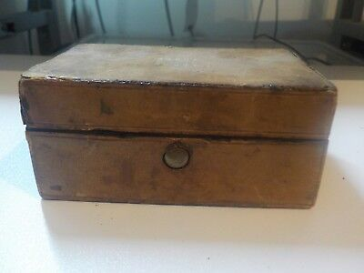 ANTIQUE LEATHER, COPPER AND BRONZE TRAVELLING INKWELL CASE