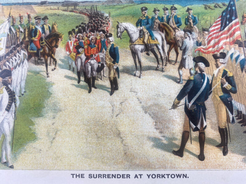 1893 The Surrender At Yorktown Lithograph By Imre Kiralfy