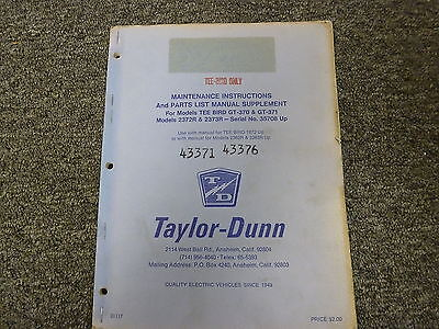 Taylor Dunn Gt370 Gt371 2372r 2373r Cart Parts Service Repair Manual Supplement