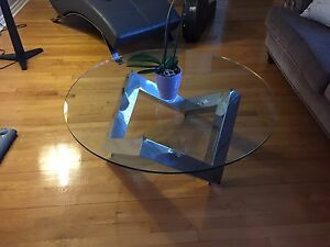 Chrome and clear glass table