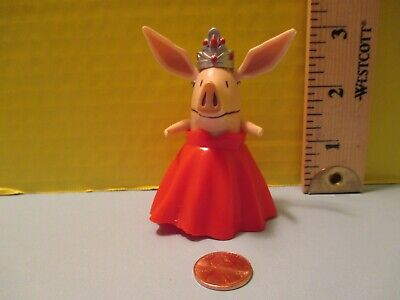 Small Plastic Tiaras (toy SMALL PLASTIC FIGURINE OF Ian Falconer's OLIVIA IN RED GOWN W/ SILVER)