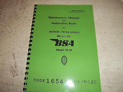 BSA M20 1939-44 WD MODELS MAINTENANCE & INSTRUCTION MANUAL BW18