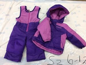 Columbia girls 2 pc snowsuit 6-12 months and Kombi Mitts