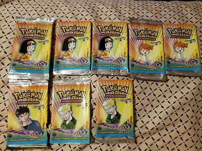 LOT OF 8 Pokemon Gym Heroes 1st Edition EMPTY Booster Packs - ALL 4 Characters!!