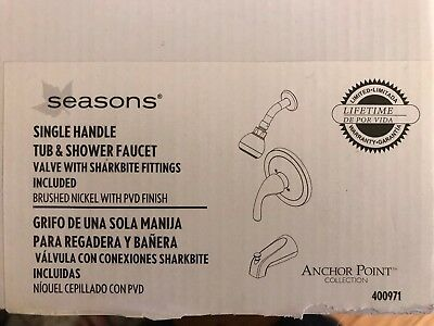SINGLE HANDLE TUB AND SHOWER TRIM KIT SEASONS Silver NEW IN BOX - Handle Tub Trim Kit