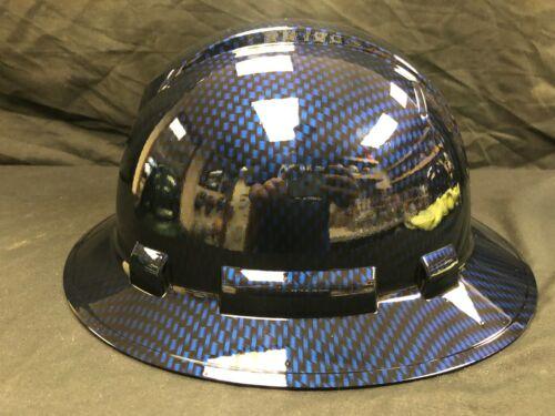 New Full Brim Hard Hat Custom Hydro Dipped BLUE CANDY CARBON FIBER. Free Ship