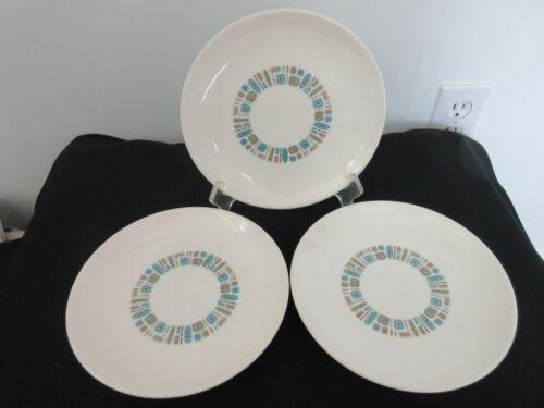 5 Vintage Temporama Mid Century Modern Canonsburg Pottery Dinner Plates as found