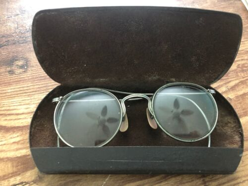Vintage AMERICAN OPTICAL AO Safety Glasses w/ Case Eyeglasses Silver