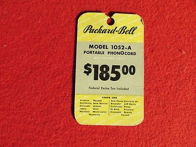 1946 Packard Bell Model1052-A  hanging descriptive price tag Radio Phongraph  for sale  Santa Rosa