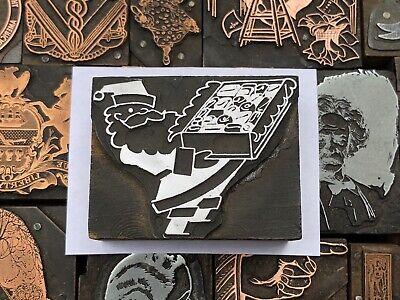 Antique Vtg Santa Claus Christmas Letterpress Print Type Cut Ornament Block