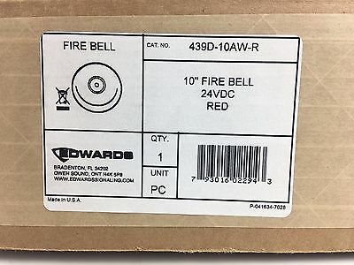 New Edwards 439d-10aw-r - Fire Alarm Bell 10 - 24vdc Red