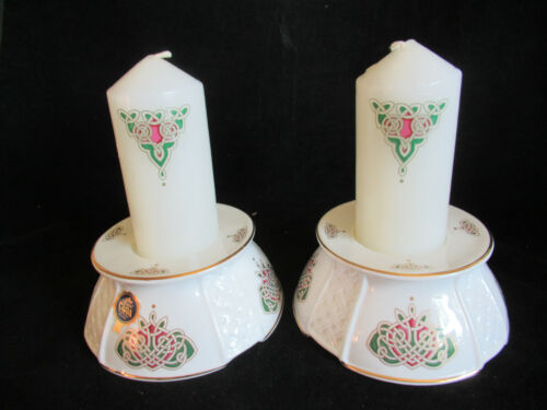 Royal Tara Celtic Spirit Bone China Pillar Candle Holders w/ Candles Celtic Knot