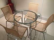 Glass Table with Wicker Chairs Arncliffe Rockdale Area Preview