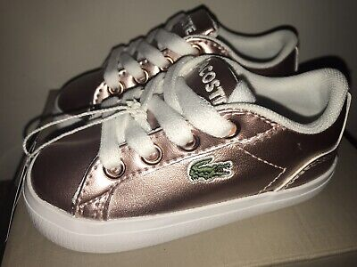 NEW Lacoste Lerond Sz 5 M Infant/Toddler Girls metallic PINK athletic shoes Lacoste Infant Shoes