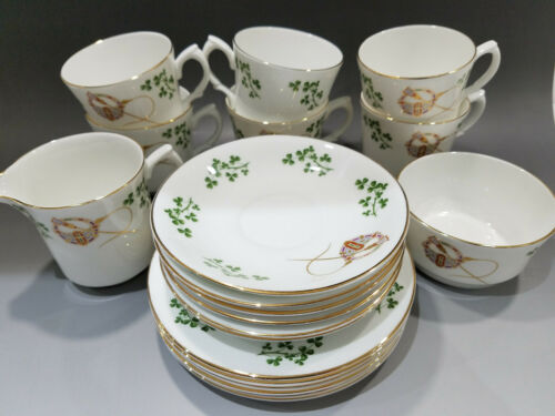 Vintage Arklow Bone China Ireland Tea Set Green Shamrock 20 Pieces