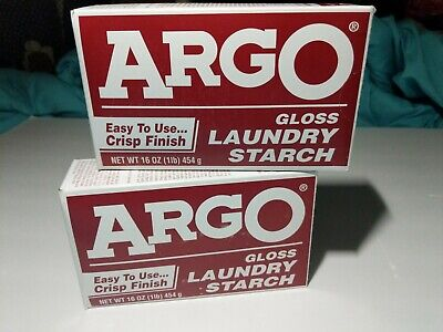 Two Vintage ARGO GLOSS LAUNDRY STARCH 16oz / 1lb NEW OLD STOCK