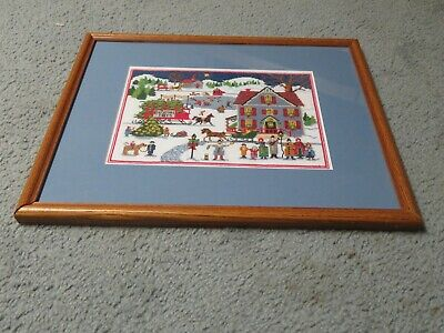 Handmade Counted Cross Stitch Christmas, Winter Scene, Framed & Matted Picture