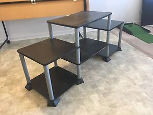 Black TV stand with 6 shelves