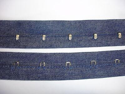 Korsagenband Haken und Ösen Miederband aus Jeansstoff blau