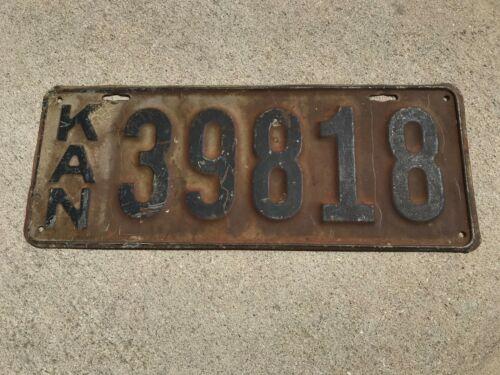 1917 Kansas License Plate 39818 KAN Original