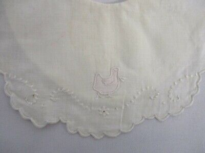 VINTAGE MADEIRA LINEN BABY BIB with EMBROIDERED DUCK ~ SO SWEET
