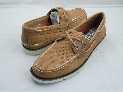 Sperry Top-Sider Leeward 2-Eye Crosslace Boat Shoes Men's Size 9 Brown Leather