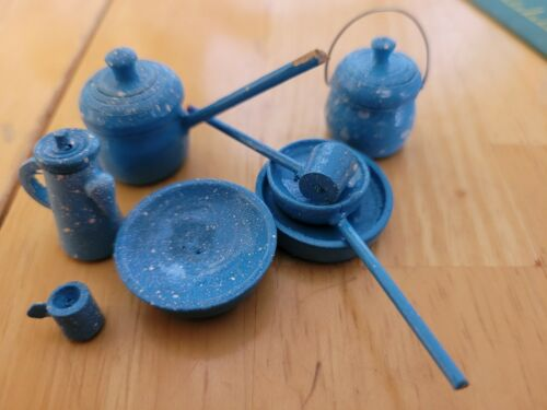 Vintage Miniature Enamel Ware Look Wooden Pots Pans Dishes Utensils Doll House