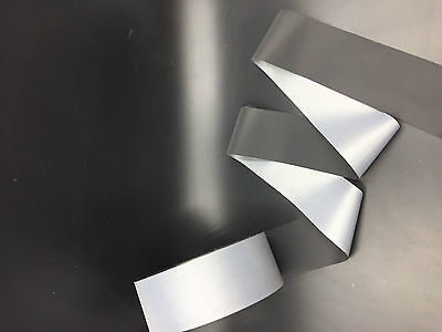 3m 10ft Black Reflective Tape Safty Strip Sew 5cm 2 Trim Gray Synth Fabric