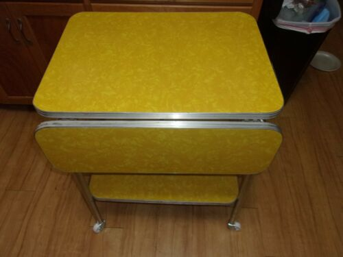 VINTAGE RARE DROP LEAF CRACKED ICE FORMICA  TABLE/SERVING CART