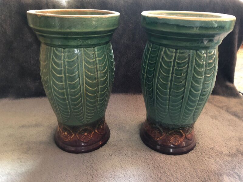 Roseville Pottery Plant Stands- 2 Green And Brown