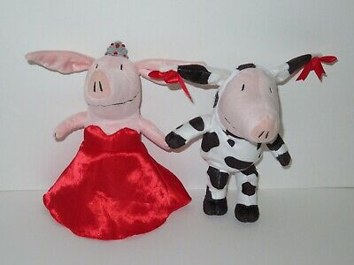 Olivia Pig Plush Doll LOT Stuffed Animal Toy Red Princess Dress Cow Costume  Olivia Pig Doll
