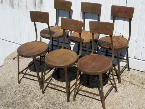 Set of 6 vintage industrial Hallowell Steel Co Chairs Stool antique metal & wood
