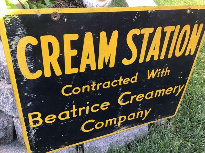 Beatrice Creamery Company Cream Station Sign Agriculture Advertising Nebraska
