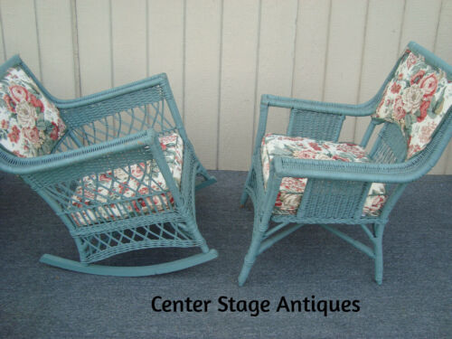 61848   Pair Antique Wicker Chair + Rocker w/ Upholstered Back