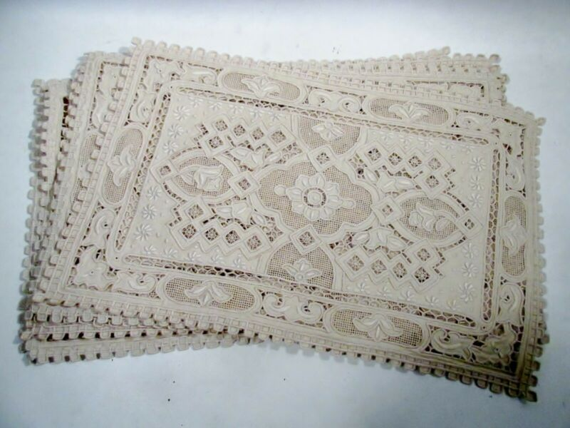 Antique Linen Cutwork Embroidery Table Set 12 Placemats