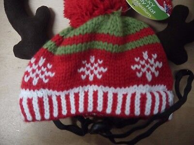 Wacky wooly hat, M/L, xmas hat with antlers, BNWT, dog hat - Wacky Christmas Hats